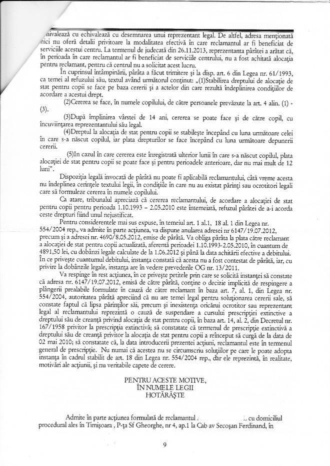 Sentinţa nr. 242/2014 a Tribunalului Timiş