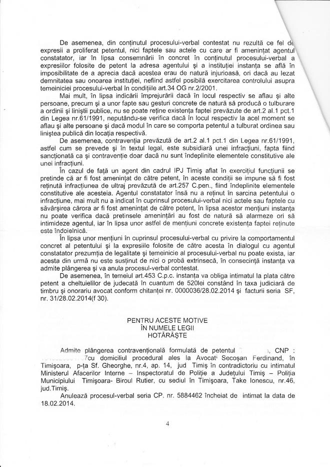 Sentința nr. 6610/2014, Judecătoria Timișoara, Secţia civilă, menținută prin Decizia nr. 1097/2014 a Tribunalului Timiș