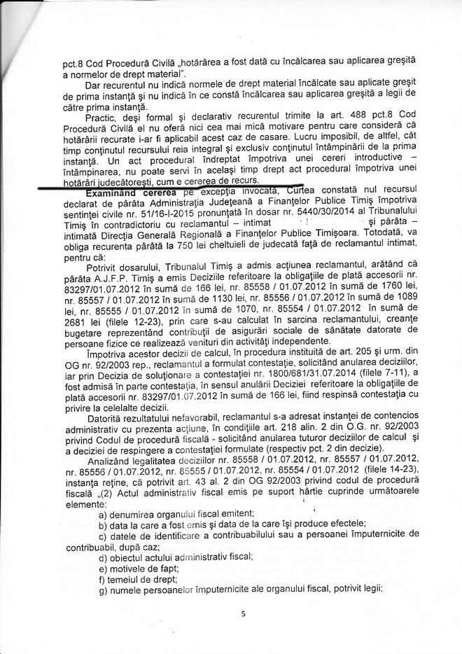 Decizia nr. 5301/2015, Curtea de Apel Timișoara, Secția de contencios administrativ și fiscal, pronunțată în recurs